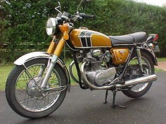 '72 Honda CB350 twin, seventh bike, bought cheap & owned for a summer, pretty beat up, took some work to get running -image via motorbike search engine