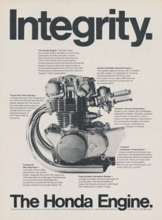 "968 Honda CB-450 Motorcycle Engine ""Integrity"" Original Ad Vintage Advertising Print, Garage Wall Art Decor"