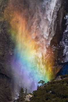 "A rare sight - Yosemite National Park ""fire"" waterfall with rainbow - takes my breath away"