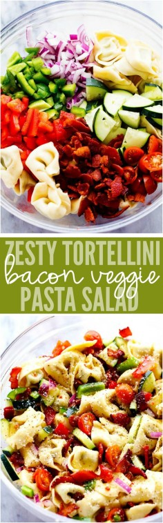 A zesty italian salad with tortellini, bacon and vegetables. This salad will be a huge hit wherever you take it!