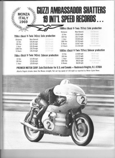 Advertisement - Guzzi Ambassador Shatters 19 International Speed Records.