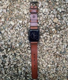 All straps are precisely cut from 4 ounce American Bridle Leather. This includes the proper Apple hardware lugs and a leather strap. We have 3 different hardware ( lugs and buckle ) finishes to match your Apple Watch version and all come with rounded hardware.