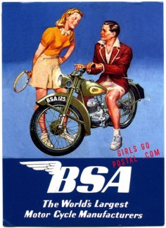 And it all goes great with his BSA motorcycle, .....