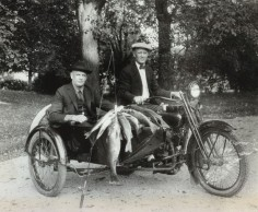 Arthur Davidson and William S. Harley, founders of the Harley Davidson motor company.  Pine Lake 1924.