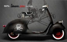 Awesome custom Vespa. love the skull and cross bones.