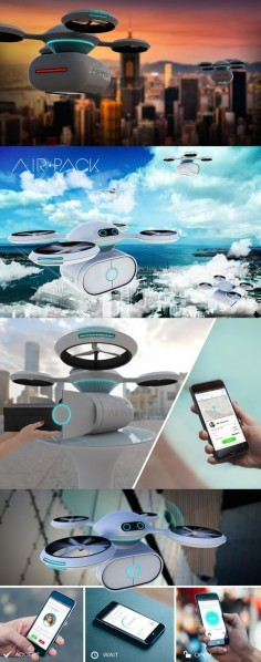 Big corporations have been toying with the idea of taking to the skies to get goods to consumers. Even Pizza Hut played with the idea of delivering via drone! But how might drones assist an everyday exchange between neighbors? The AIR PACK drone aims to be a private delivery system that anyone can use. #AIR #Pack #Drone #Technology #YankoDesign