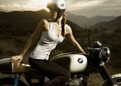 Biker Girl on Cafe Racer