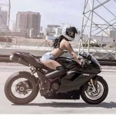Biker girl on Ducati 1198