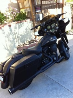 Black Denim Street Glide with a Black Vance & Hines Pro Pipe