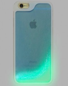 Blue Glow in the Dark Glitter Waterfall Phone Case