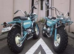 Blue Honda Motra trail bike