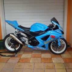 Blue Suzuki, like that color but not on the motorcycle ,maybe black