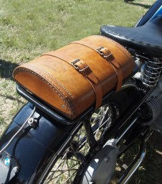 BMW vintage motorcycle with leather bag