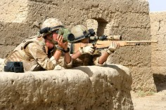 British sniper team of sniper and spotter from the Mercian Regiment pictured on operations in Helmand, Afghanistan, 2009.
