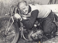 Burt Munro on his 1920 Indian that set the land speed record at Bonneville