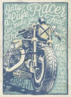Cafe Racers Poster for a Constructors Exhibition. Alex Ramon Mas designs.
