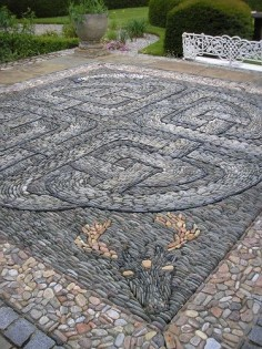 celtic stone/pebble mosaic!…beautiful! My gosh that must have taken ages!