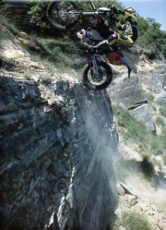 Cliff climbing on a dirt bike. I think this is my friend Don riding his bike up at Oakridge,Oregon