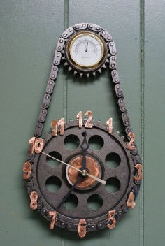 Clocks made from repurposed materials by KysarCreations on Etsy, $ pretty cool to see car parts put to creative use! #idriveracing