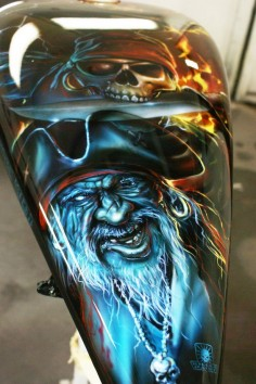 Custom Airbrushed Pirate Themed Motorcycle, Airbrushed by Mike Lavallee of Killer Paint for Captain Phil Harris of the Deadliest Catch -