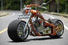 Custom chopper or bobber! Just something about that big front tire, looks mean as Hell. Has to be one of my favorite bikes.