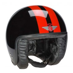 Davida Jet Helmet - Gloss Black Orange Stripes Ever popular Jet motorcycle or scooter helmet from Davida - handmade in the UK with a luxurious leather lining. The Davida Jet integrates the finest features of the traditional open face helmet into a modern product that meets the latest European Safety Standard ECE R22-05. Availalble at