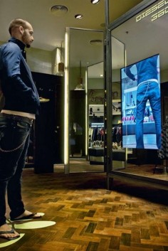 Digital interactive mirrors with fitting room simulation.