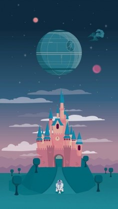 Disney and the Death Star iPhone Wallpaper