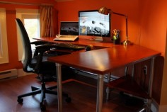 DIY computer desk - can be built as a regular desk or standing desk.