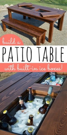 diy patio table with built-in drink coolers!