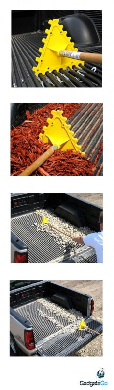 Do you know how to clean your pickup truck bed in the easiest way possible? Just use the Universal Truck Bedliner Rake to remove dirt in just one stroke. It works better than hoses and brooms! #clean #cargadgets