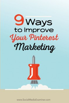 Does your business use Pinterest? Want to get more exposure and engagement for your pins? Marketing on Pinterest is an excellent way to showcase your business, engage current and potential customers and boost your bottom line. In this article Julia McCoy shares nine ways to improve your Pinterest marketing. | via @Mary Lumley | Pinterest Marketing Expert | Pinterest for Business | Pinterest Business Tips & Tricks | Consulting & Training | Conseil & Formation Pinterest |  | UK - France