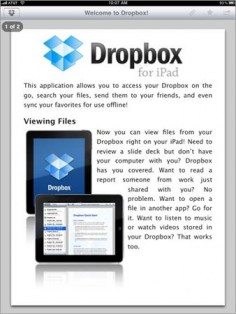 Dropbox for iPad App - one of the most useful apps out there! The ability to save documents in the cloud and retrieve them on-demand is amazing. Plus, add frequently used pieces to your favorites to access offline! Can be integrated with other great apps like Slideshark an PaperNotes.