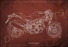 Ducati Monster 695d Blueprint, Art Print , Motorcycle Art print,Original Handmade Drawing by drawspots