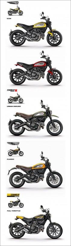 Ducati Scrambler 2015 ! 800cm3 - 75 ch ( kW) à 8 250 tr/min et  m/kg à 5 750 tr/min, 6 vitesses - 192kg tout pleins faits