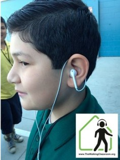 Earbuds can be uncomfortable for some students. To help students focus less on their discomfort and more on the content of the podcasts, we suggest students wear their earbuds as shown in this pin. This keeps the weight off of the earbud and in turn the ear, making it a more comfortable experience.