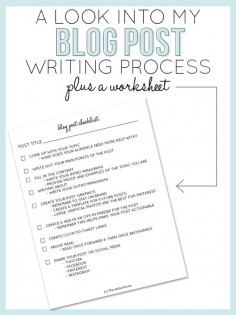 #EPIC resource for new #bloggers! She even has worksheets ♥ (I have a special place in my heart for worksheets lol) - A Look Into My Blog Post Writing Process