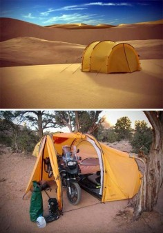 Even though I do not own or plan on purchasing a motorcycle anytime soon, a tent like this would be handy for utilizing as a basecamp for my longerterm projects or when I'm being cheap and not splurging on hotel accommodations.     Tenere Expedition Tent