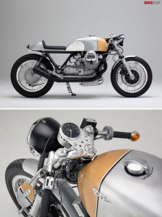 "Every few months, a freshly-customized Moto Guzzi rolls out of Axel Budde's Hamburg workshop. And you know what to expect: it will be stripped back, elegant, immaculately finished and powerful. This Le Mans is Budde's seventh custom build, and nicknamed ""Caffettiera d'oro""—meaning golden coffee machine. It's one of 13 bikes featured in the 2014 Bike EXIF Custom Motorcycle Calendar: get yours from"