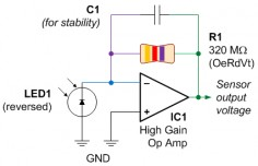 Example schematic for amplifying a photodiode using an op amp.