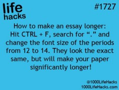 """find all the """"."""" periods and increase their font to 14. they look the same but increases the pages"""