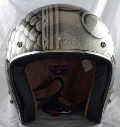 Flames & Scales Over Silver Metal Flake / Custom Painted Open Face Helmet – Skull Crush