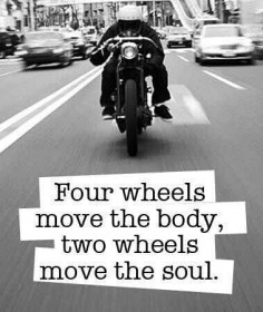 Four wheels move the body.  Two wheels move the soul.  #motorcycle