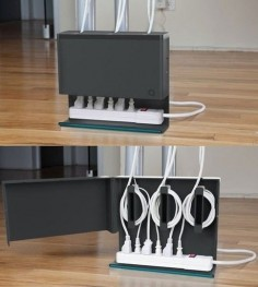 Get a cable organizer.   52 Totally Feasible Ways To Organize Your Entire Home