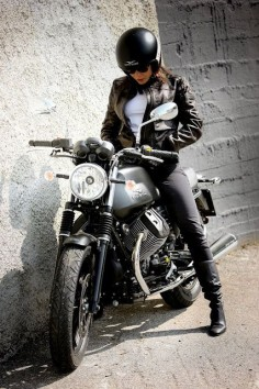 Girl on a Guzzi.
