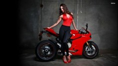 Girl with ducati 1199 panigale