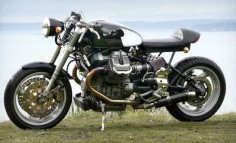 Guzzi cafe racers always seem to turn out just-right. This is a shed-built creation from Arnie, near Seattle.