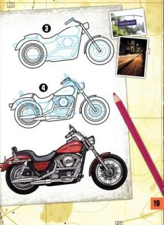 How to draw harley motorcycles sketch design