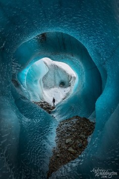 Ice cave on the Torre Glacier in Los Glaciers National Park Argentina. Photo by Andrew Waddington.