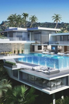 In an attempt to sell  acres of prime Los Angeles real estate high atop the Sunset Strip, high-end realtors The Agency hired the Ameen Ayoub Design Studio to create the kind of homes that would make your jaw drop. This is a rendering.